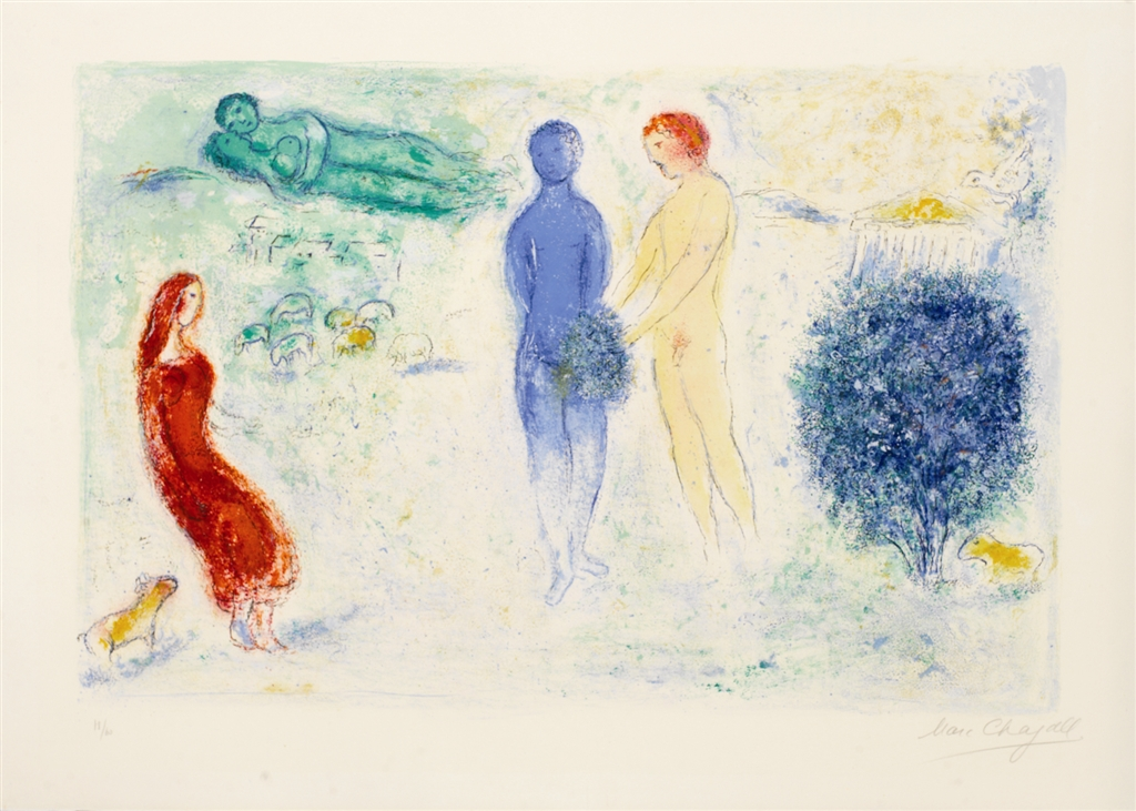 """""""Chloé's Judgement"""" (1961), Marc Chagall. From the Daphnis and Chloé suite. On display at Park West Museum."""