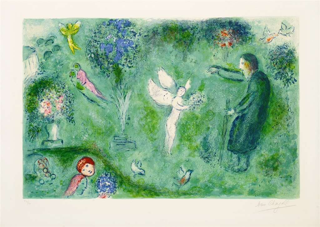 """""""Philetas's Orchard"""" (1961), Marc Chagall. From the Daphnis and Chloé suite. On display at Park West Museum."""