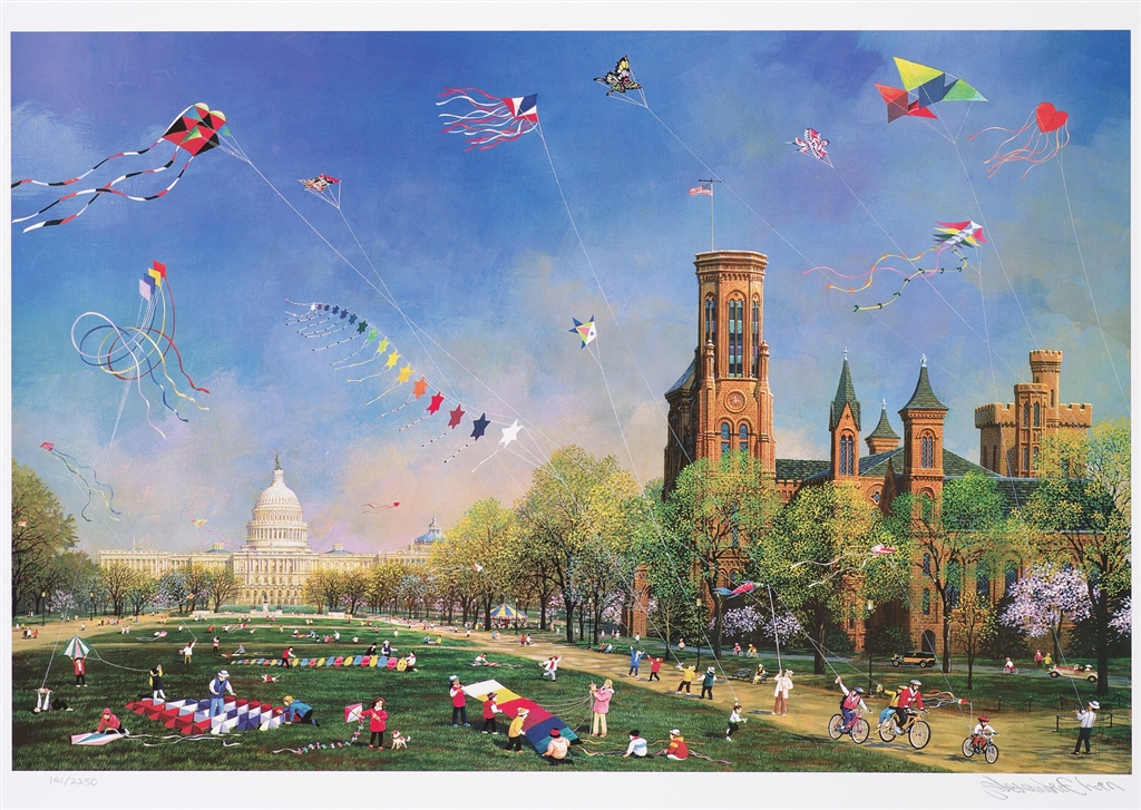 """Kite Day in Washington"" (2016), Alexander Chen, Park West Gallery, summer art"