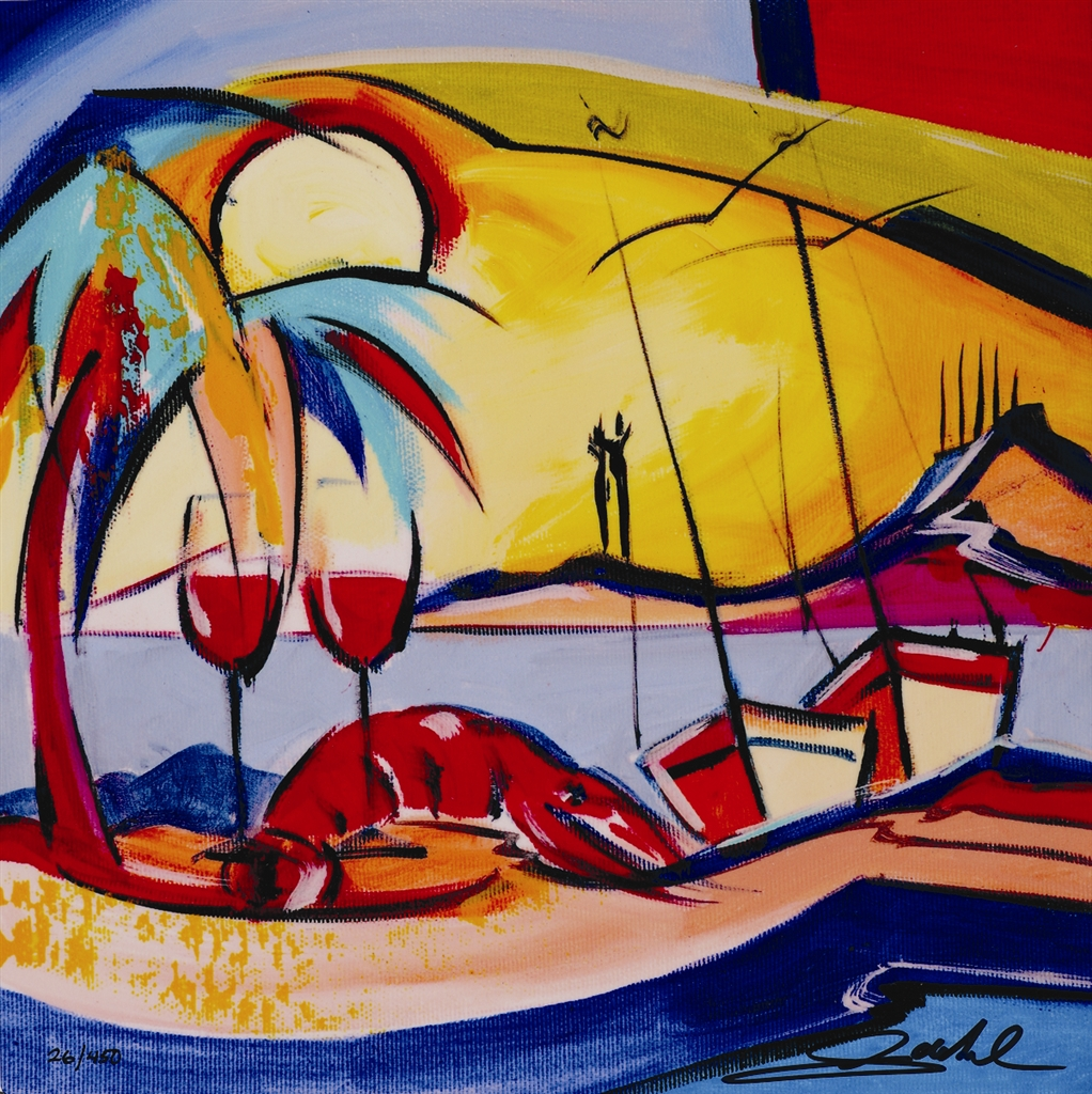 """Wine by the Bay"" (2017), Alfred Gockel, Park West Gallery, summer art"