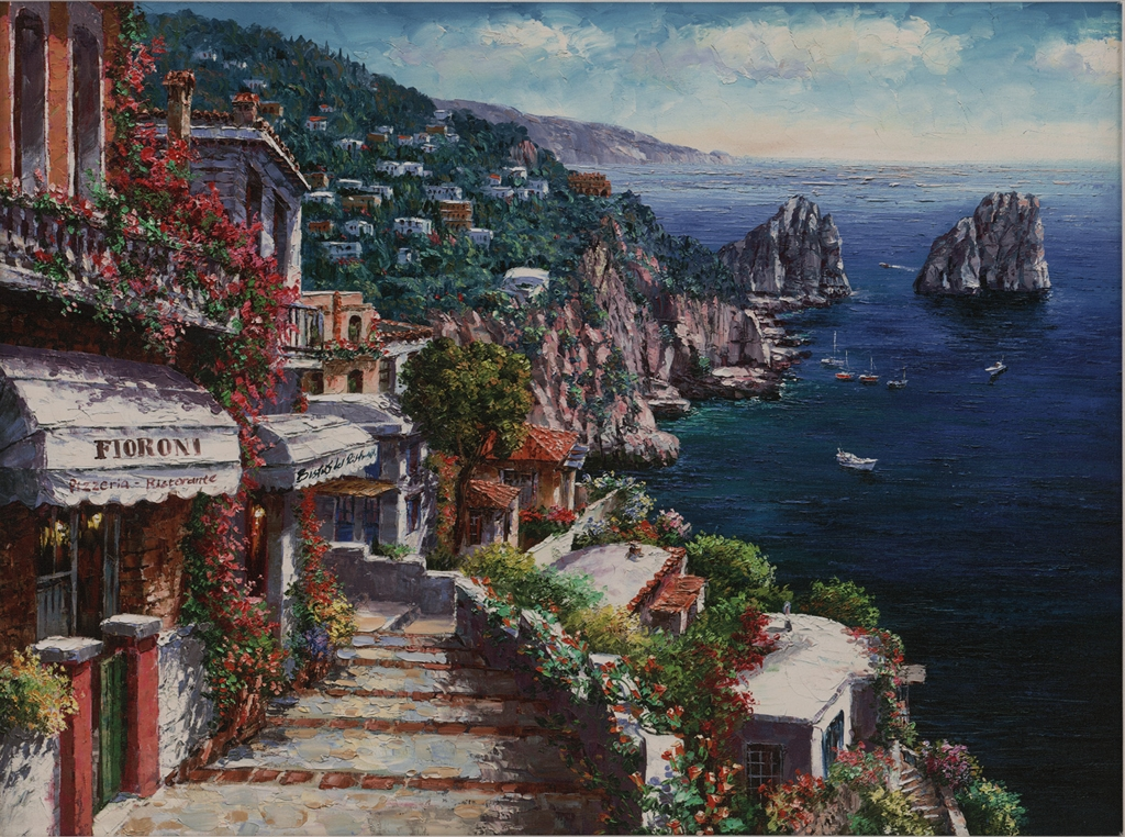 """Walkway to Capri"" (2015), Sam Park, Park West Gallery, summer art"