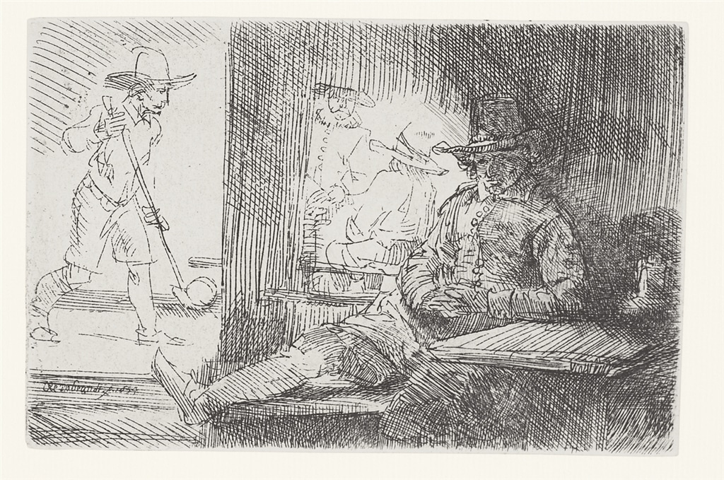 """""""The Golf Player"""" (1654), Rembrandt Van Rijn. A 20th/21st Century impression from the """"Millennium Collection,"""" printed by master printer, Marjorie Van Dyke."""