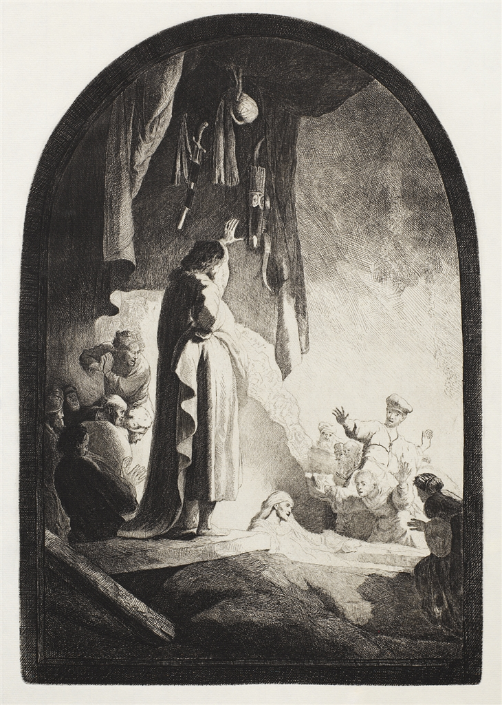 """""""The Raising of Lazarus: The Larger Plate"""" (c. 1630), Rembrandt Van Rijn. A 20th/21st Century impression from the """"Millennium Collection,"""" printed by master printer, Marjorie Van Dyke."""