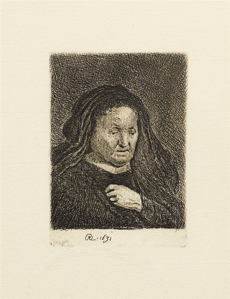 """""""The Artist's Mother with her Hand on her Chest"""" (1631), Rembrandt Van Rijn. A 20th/21st Century impression from the """"Millennium Collection,"""" printed by master printer, Marjorie Van Dyke."""