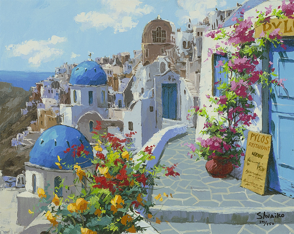 """Spring in Santorini"" (2015), Viktor Shvaiko, Park West Gallery, summer art"
