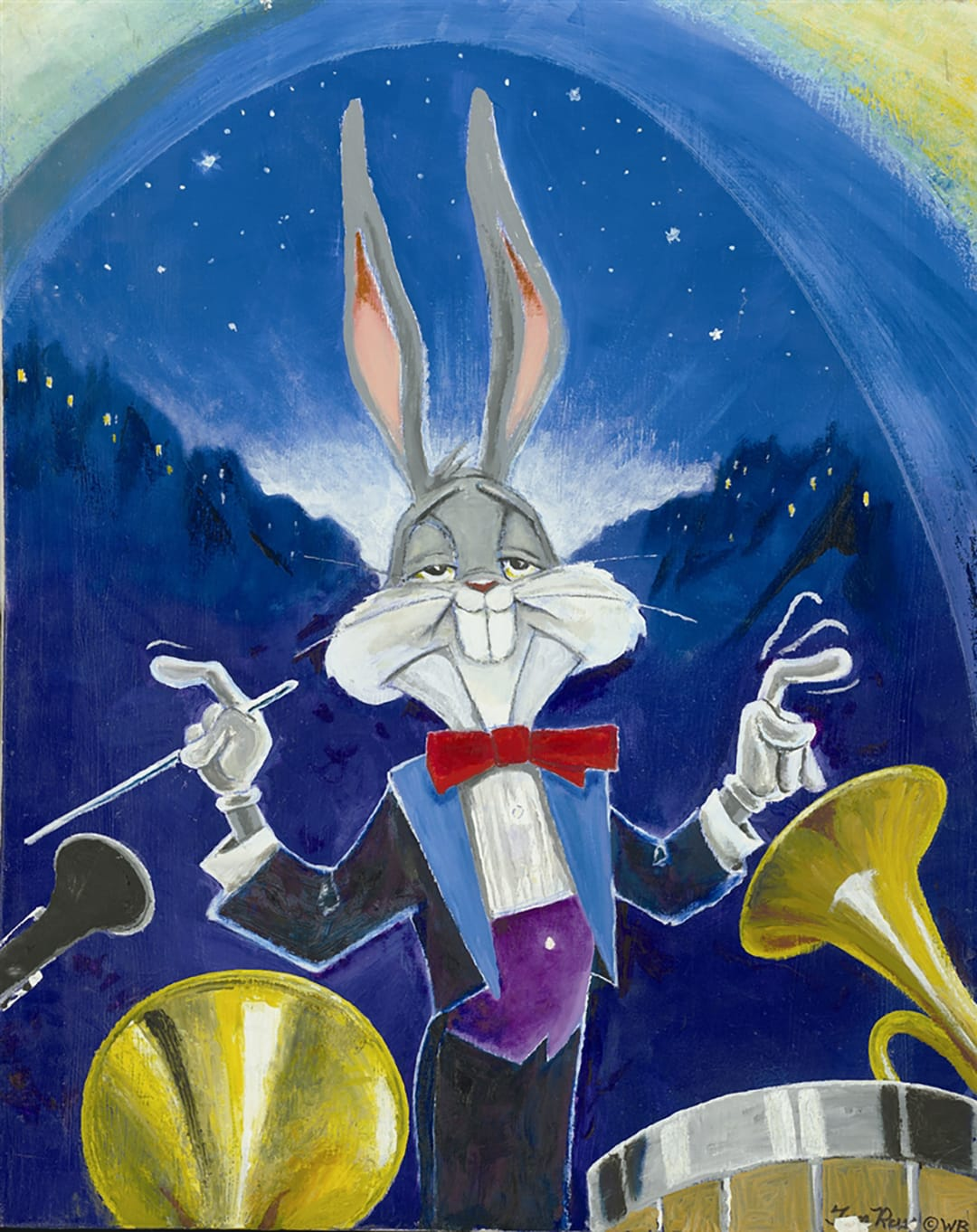Bugs Bunny in a tuxedo conducting an orchestra