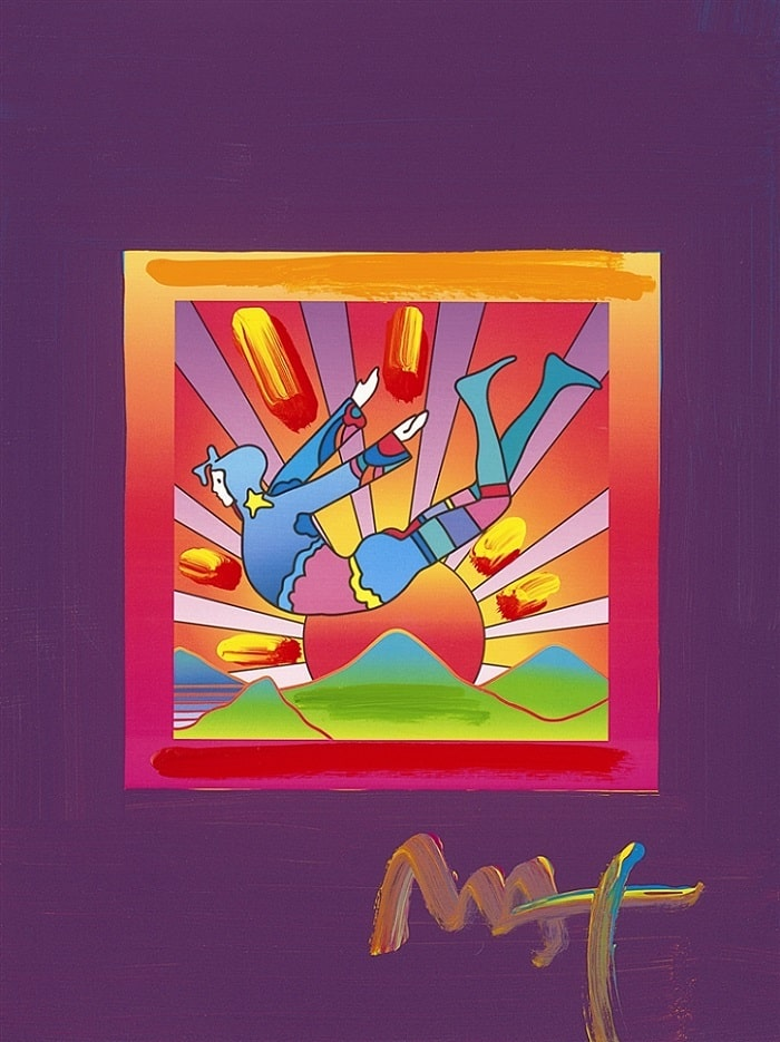 """Cosmic Flyer with Sun on Blends,"" Peter Max"