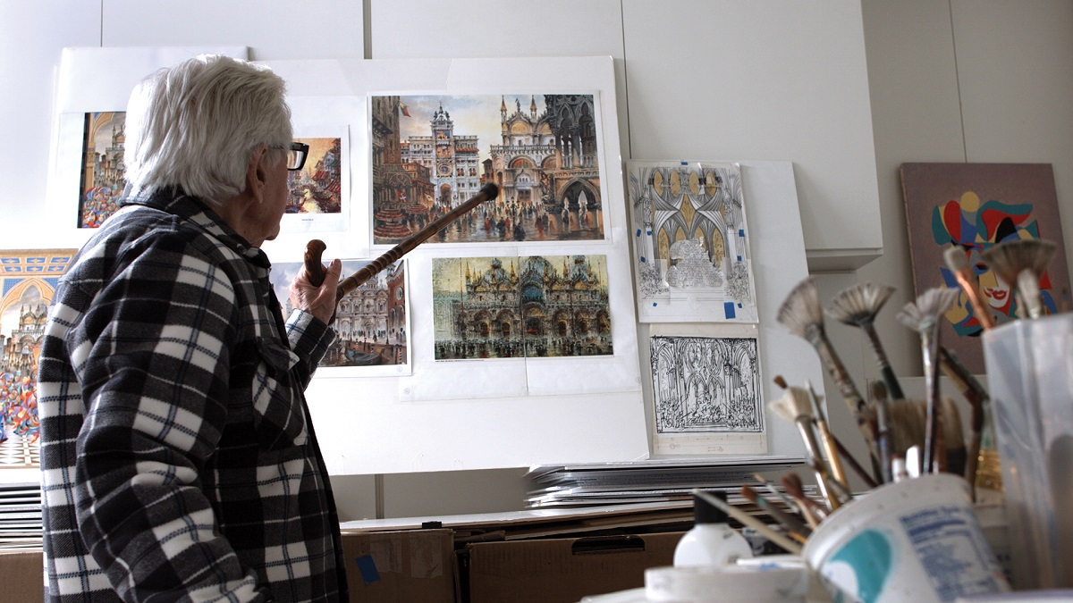 Anatole Krasnyansky in his art studio.