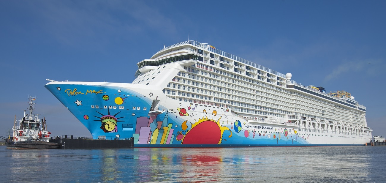"""Norwegian Breakaway—also known as the """"Peter Max cruise ship. (Image courtesy of Meyer Werft.)"""