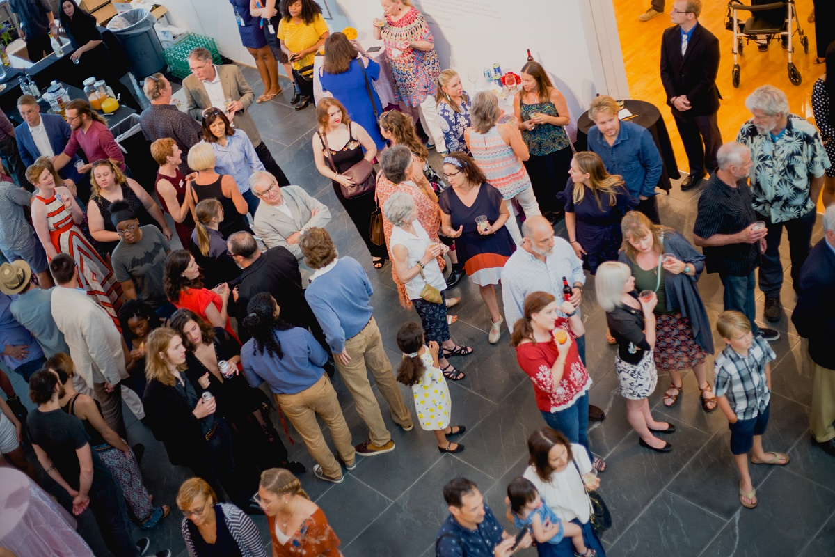 """Crowd at the opening night for """"Salvador Dalí's Stairway to Heaven"""" at Louisiana's Hilliard University Art Museum."""