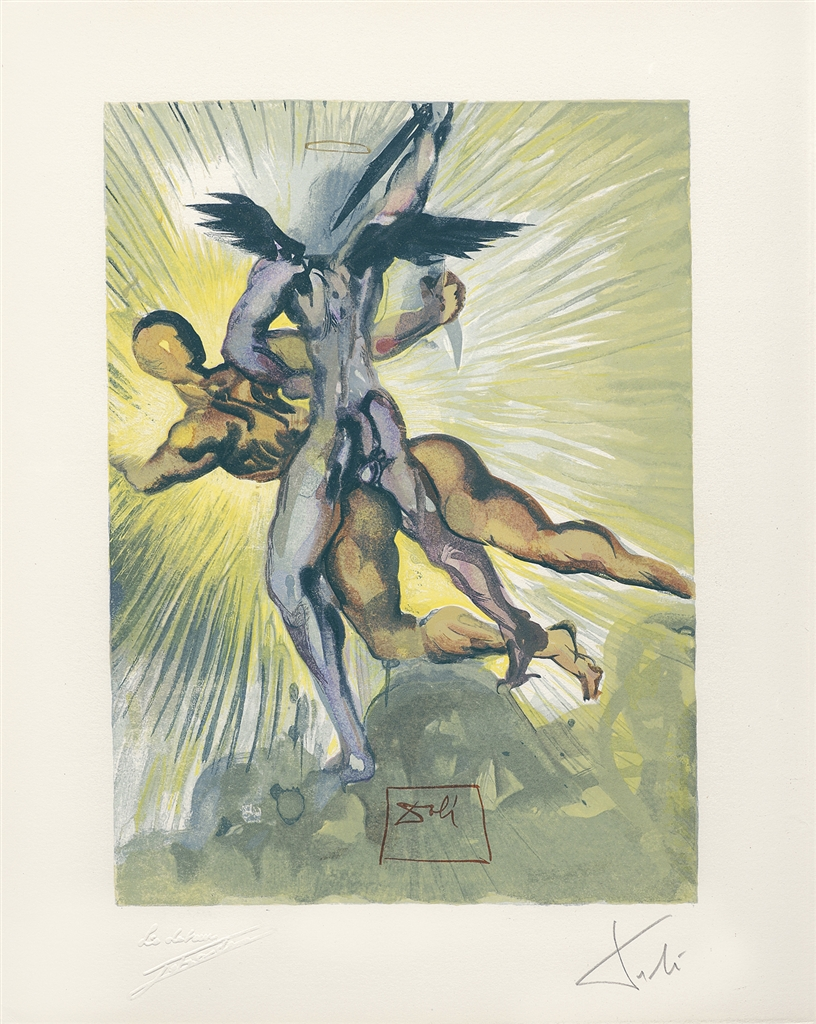 """Divine Comedy—Purgatory 8: Les anges gardiens de la vallee"" (Guardian Angels of the Valley, 1959-1963), Salvador Dalí. From the ""Stairway to Heaven"" exhibition."