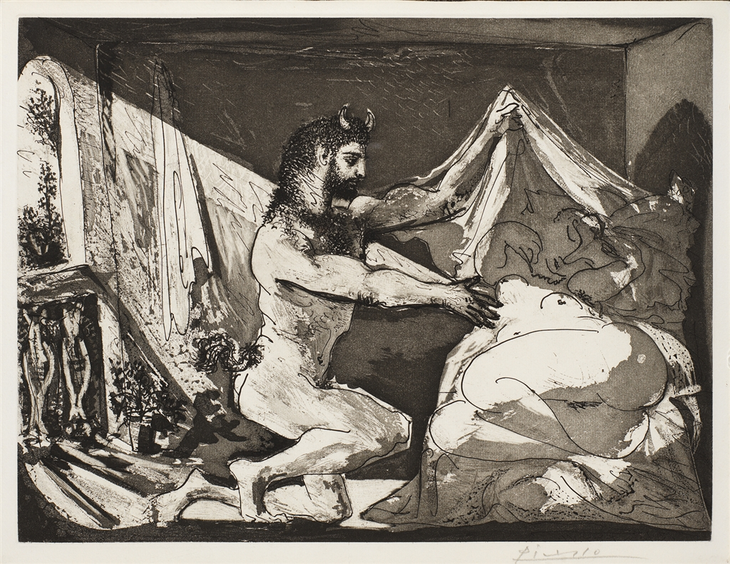 """""""Faune Devoilant une Femme"""" (1936), etching by Pablo Picasso. From his """"Vollard Suite."""""""
