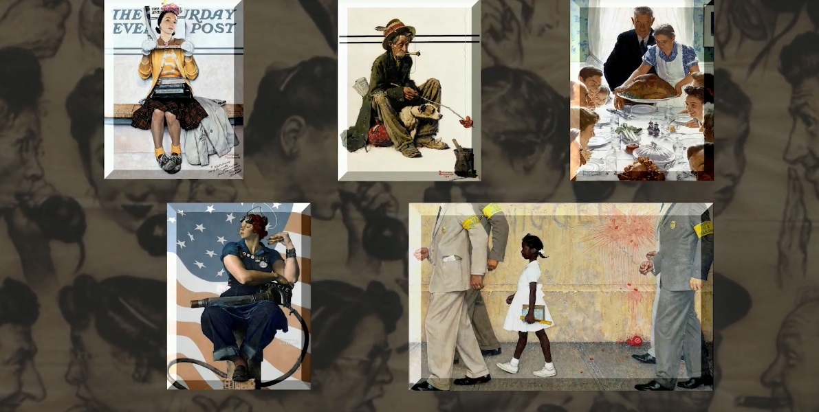 Collage of Norman Rockwell paintings