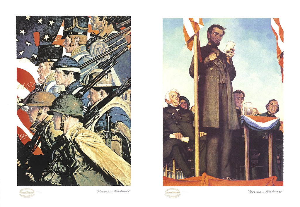 """""""A Pictorial History of the United States Army,"""" original painting, c. 1940; seriolithograph, 2012. """"Abraham Lincoln Delivering the Gettysberg Address"""" original painting, 1942; seriolithograph, 2012, Norman Rockwell."""