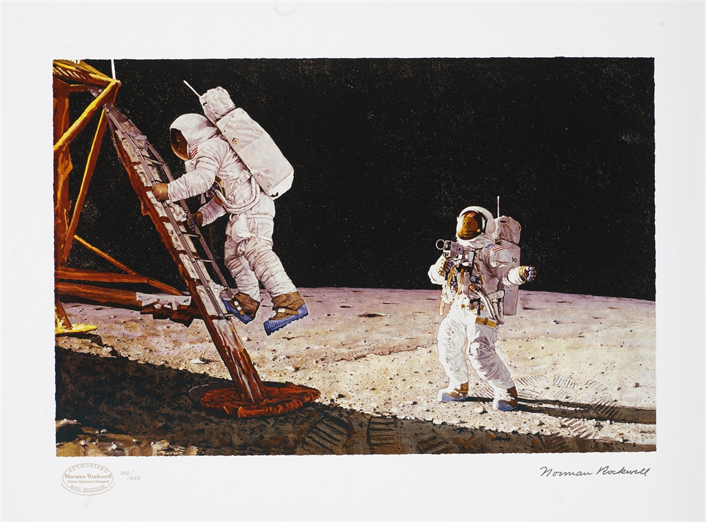 """""""The Final Impossibility: Man's Tracks on the Moon,"""" original illustration, 1967; seriolithograph, 2012, Norman Rockwell."""
