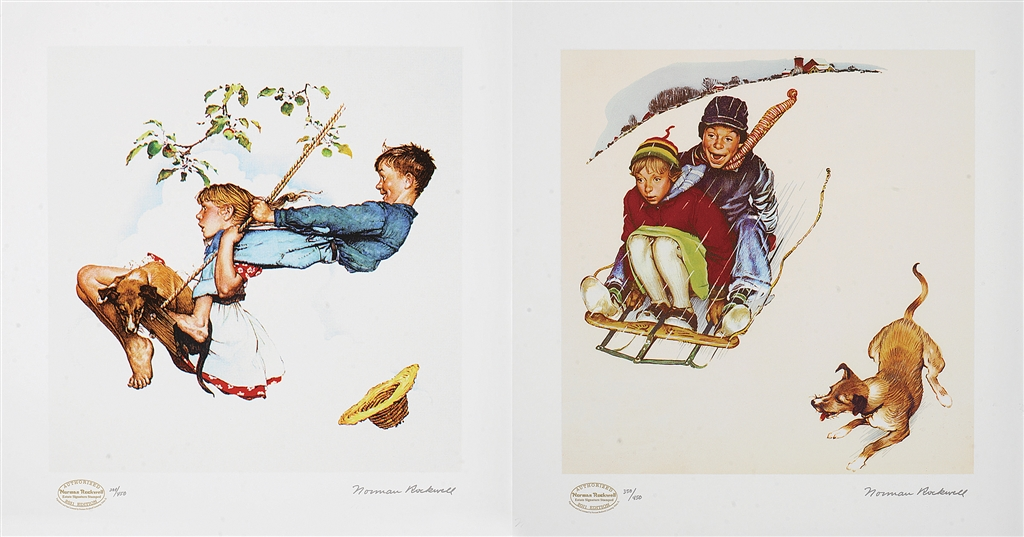 """""""Young Love Suite,"""" original paintings, 1948; seriolithograph, 2011, Norman Rockwell"""