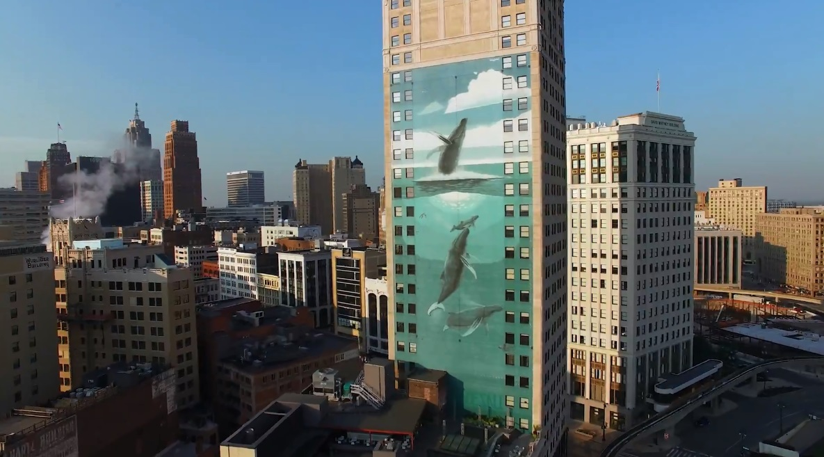 "One of the ""Whaling Wall"" murals in the artist's hometown of Detroit."