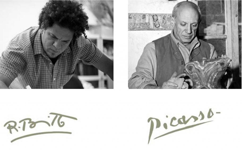 Romero Britto, Pop-Art Star, and Pablo Picasso, Icon of Classical Modern Art.