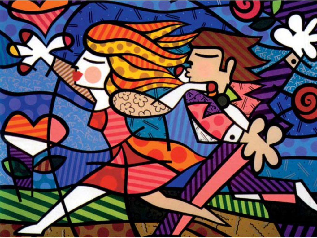 """Britto's """"Love Blossoms"""" illustrates the exuberance of young lovers within nature."""