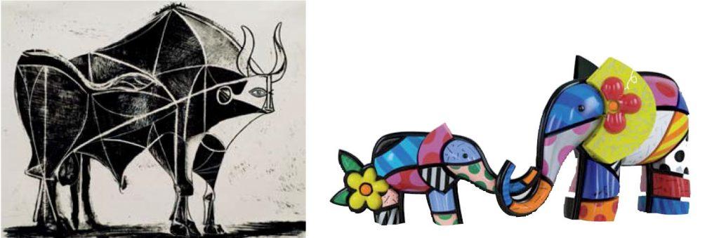 Left: Pablo Picasso / Right: Romero Britto