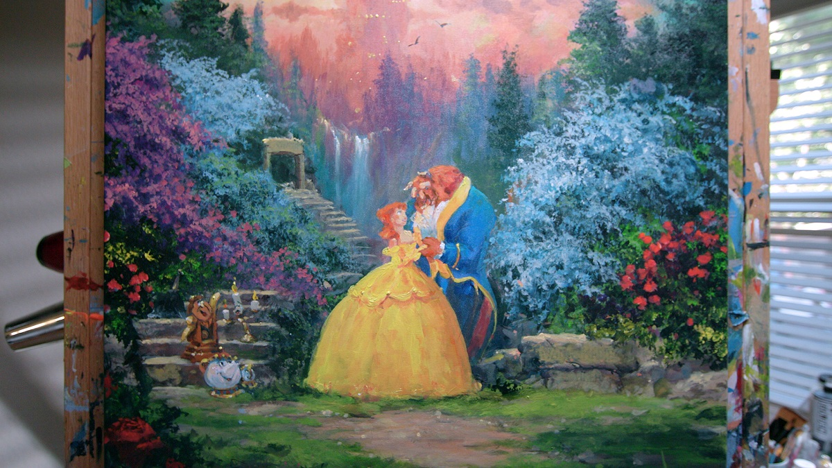 "James Coleman painting of Disney's ""Beauty and the Beast"""