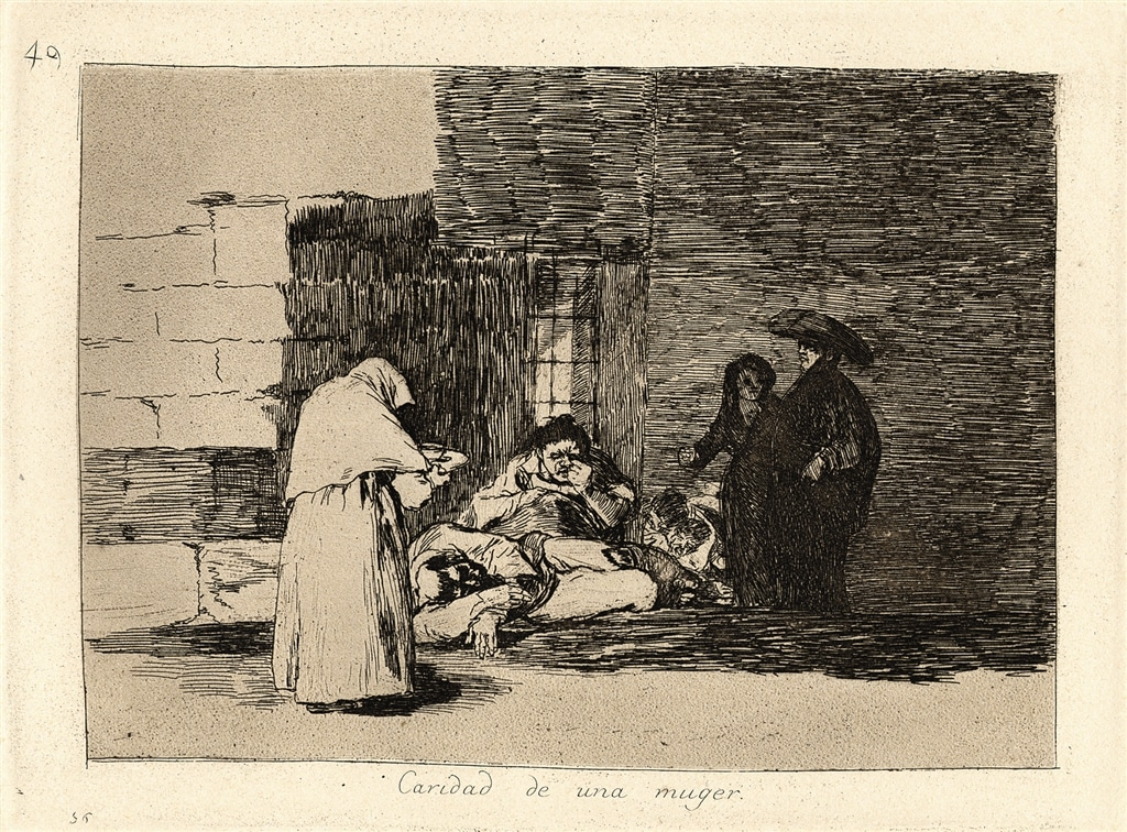 """""""Caridad de una muger"""" (A Woman's Charity, 1810-1820), Francisco Goya. Etching, lavis, burin, and burnisher on wove paper."""