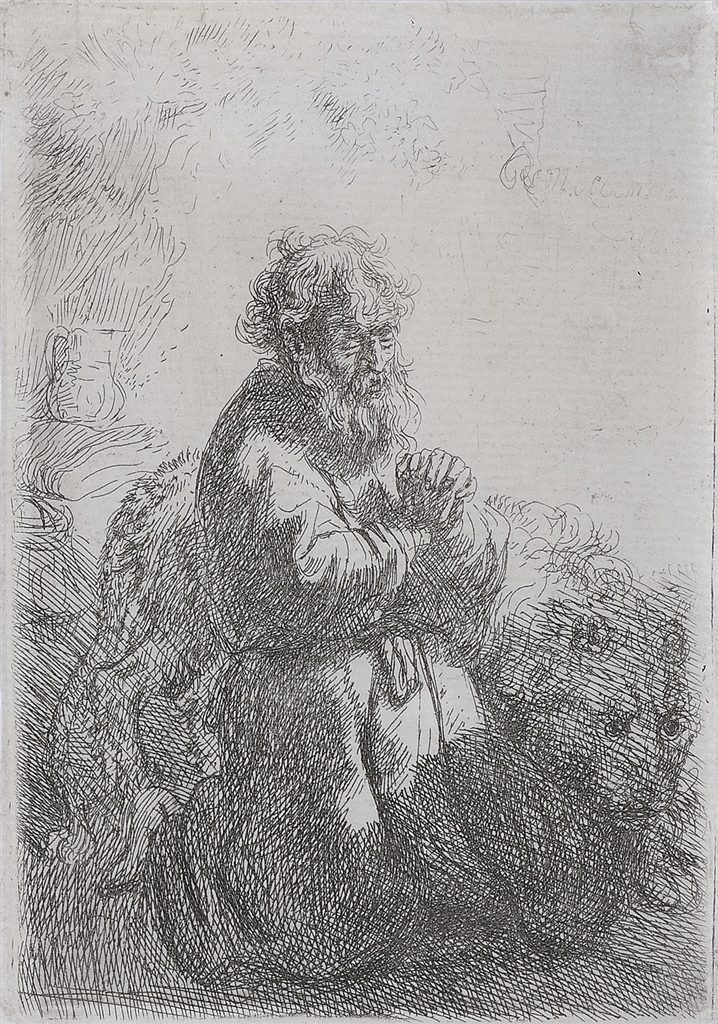 """St. Jerome Kneeling in Prayer, Looking Down"" (1635), Rembrandt van Rijn. Etching on thin laid paper with narrow margins."