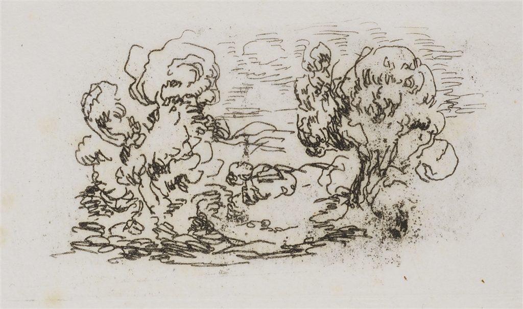 """""""Le Petit Paysage"""" (c. 1908), Pierre-Auguste Renoir. Etching on Japon paper."""