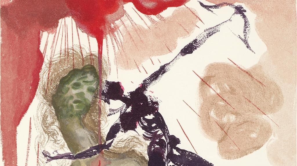 "Detail from ""Minotaur"" (Le minotaure; 1960). From Dalí's ""Divine Comedy—Inferno 12."""