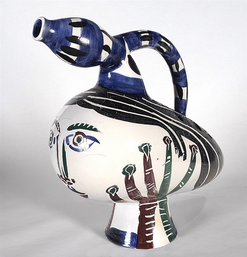 """""""Canard Pique-Fleurs"""" (Duck Flower-Holder; 1951), Pablo Picasso. White earthenware clay turned pitcher, painted in colors and glazed. From the Picasso Ceramics collection at Park West Gallery."""
