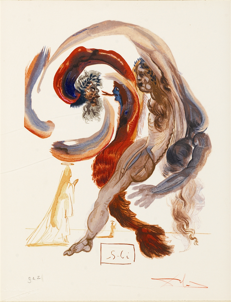 """The 4th Level: Accidia"" (La quatrieme corniche: Accidia; 1951-64). From Dalí's ""Divine Comedy—Purgatory 18."""