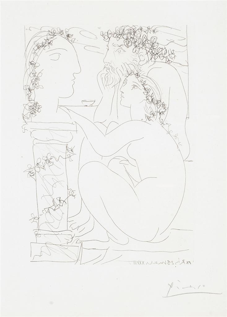 """""""Sculpteur et Modele Admirant une Tete Sculptee"""" (1933). Etching from Picasso's Vollard Suite."""