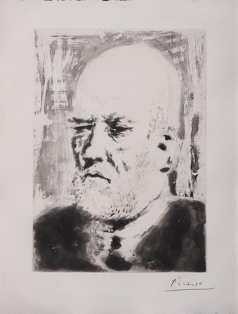 """""""Portrait de Vollard II"""" (1937). Etching from Picasso's Vollard Suite."""