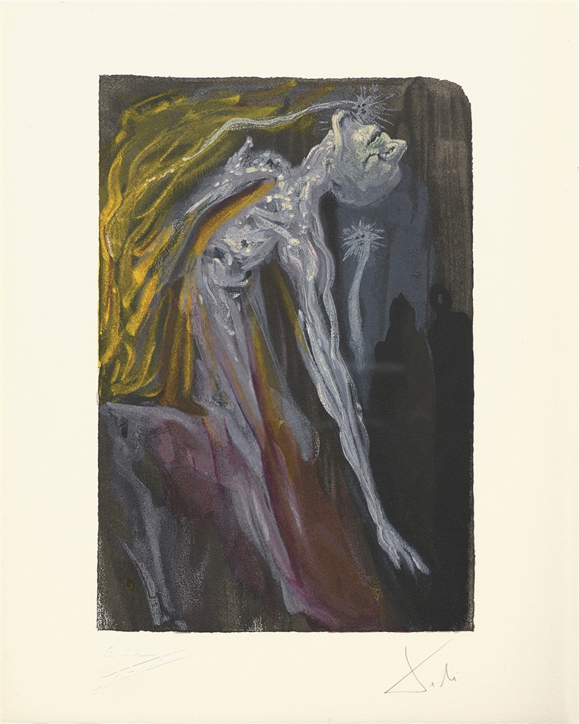 """Erinnyes"" (Les erinnyes; 1959-1963). From Dalí's ""Divine Comedy—Inferno 9."""