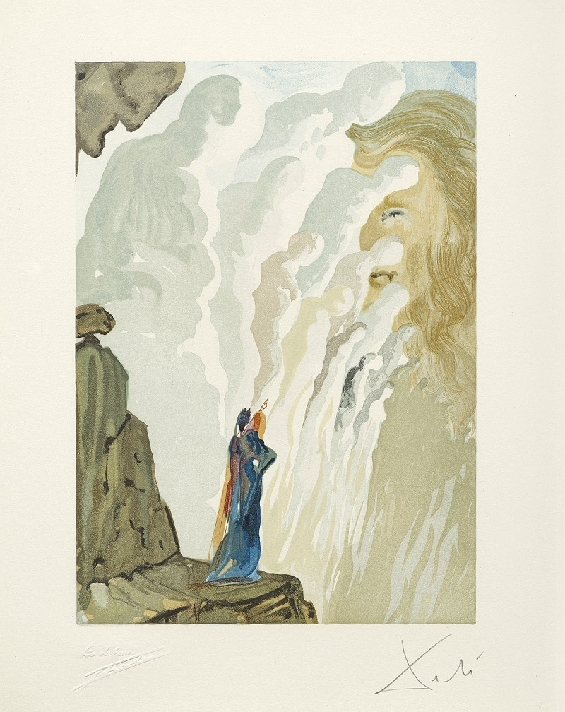 """The Beauty of the Sculpture"" (La beaute des sculptures; 1951-64). From Dalí's ""Divine Comedy—Purgatory 12."""