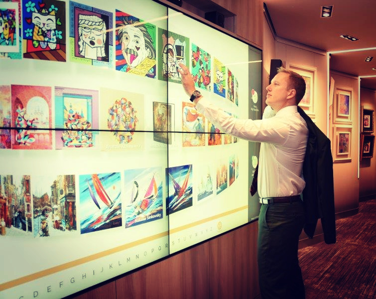Park West's new interactive touch screen wall provides a exciting new way to interact with art.