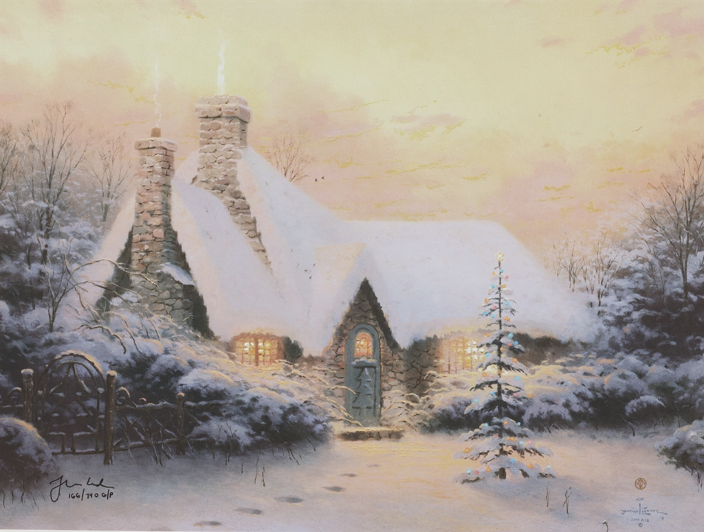"""Christmas Tree Cottage,"" Thomas Kinkade"
