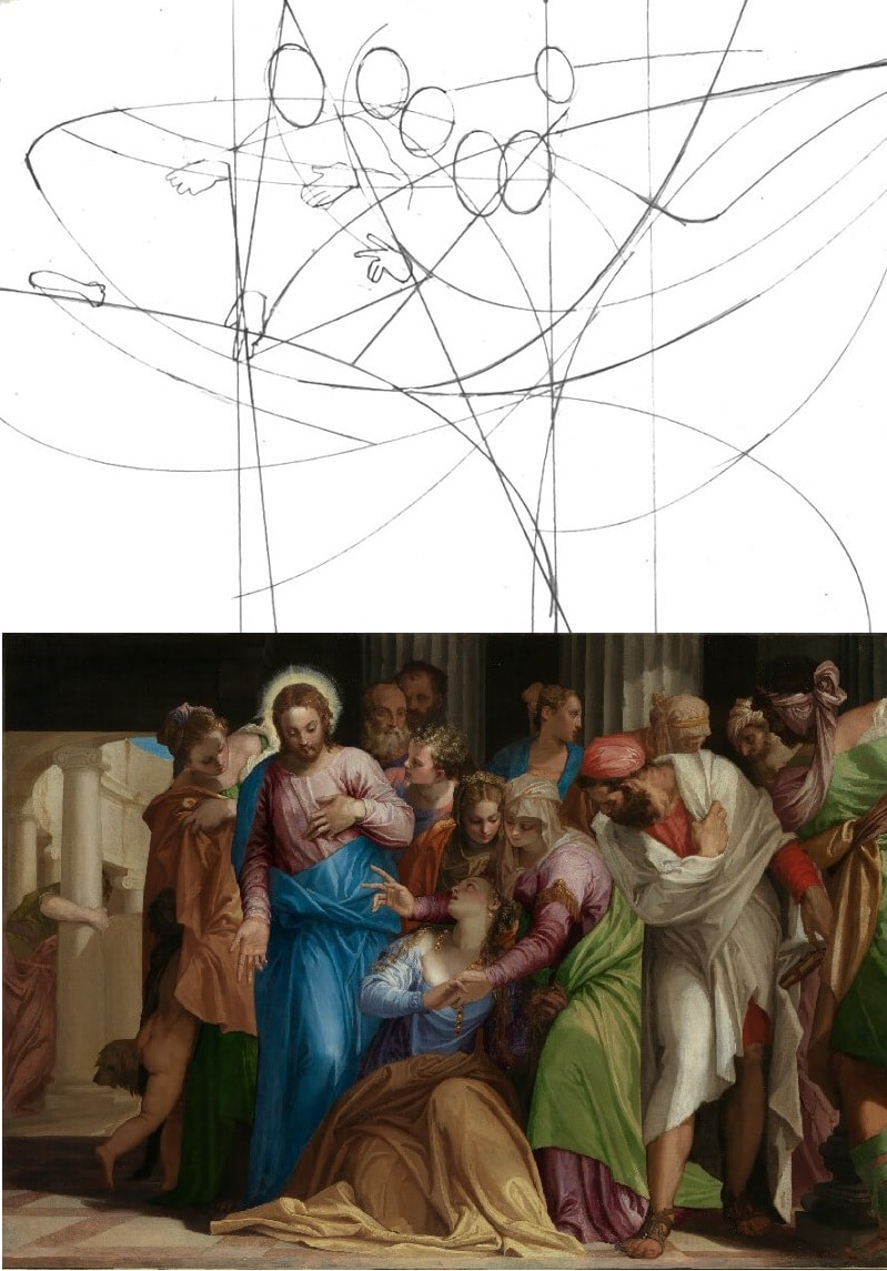 """Peter Nixon breaks down the compositional curves of """"The Conversion of Mary Magdalene"""" by Paolo Veronese"""