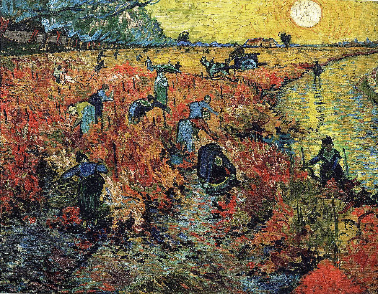 Famous Artist van Gogh's painting of people working in a field