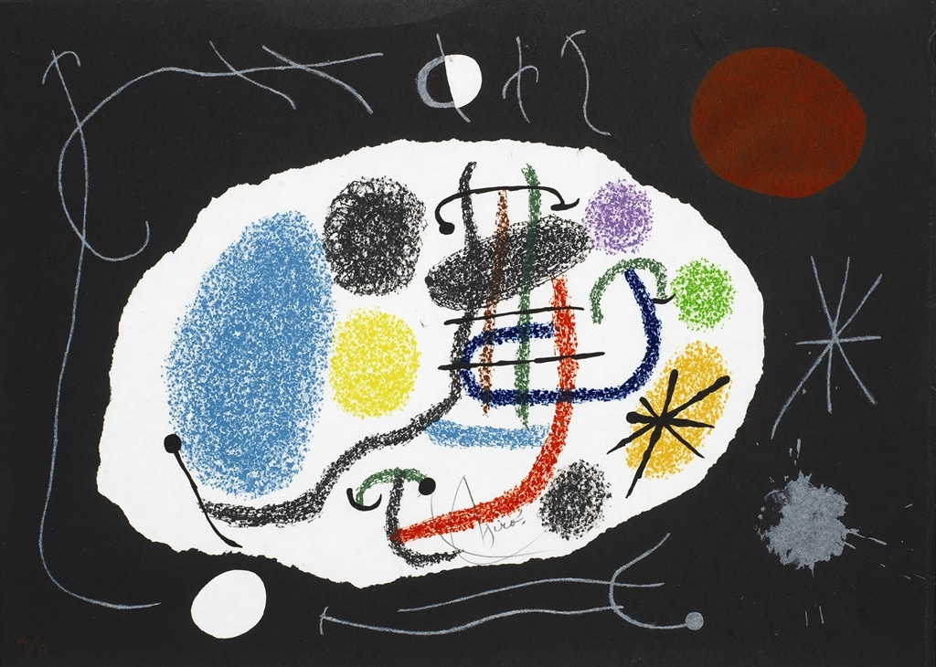 """""""Le Lezard aux Plumes d'Or II"""" (1971; m. 800), Joan Miró, abstract, abstract art"""