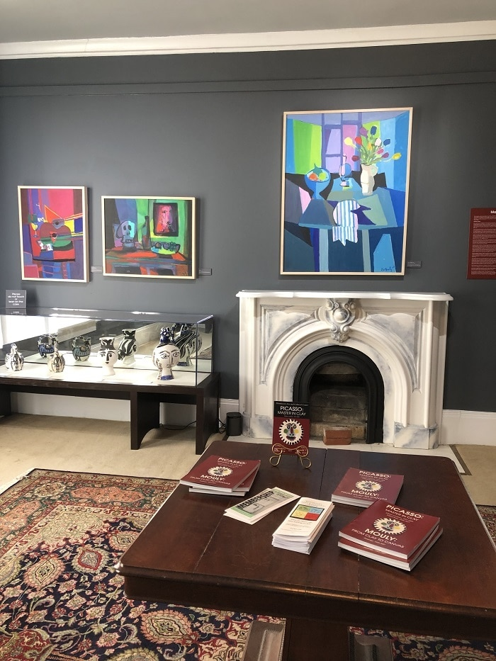 """One of the galleries at the Monthaven Arts Center exhibition of """"Picasso: Master in Clay"""" and """"Mouly: From Clay to Canvas"""""""