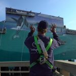 Wyland approves of his 101st Whaling Wall mural.