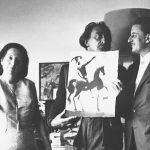 """Salvador Dalí presenting the Albaretto family with one of his """"Biblia Sacra"""" watercolors (Photo credit: Eduard Fornés)"""