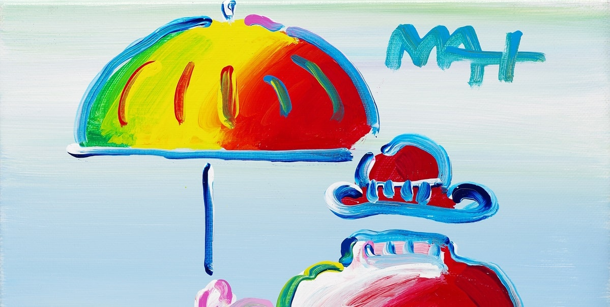 """Detail from """"Umbrella Man on Blend, Ver.XI # 448,"""" Peter Max"""