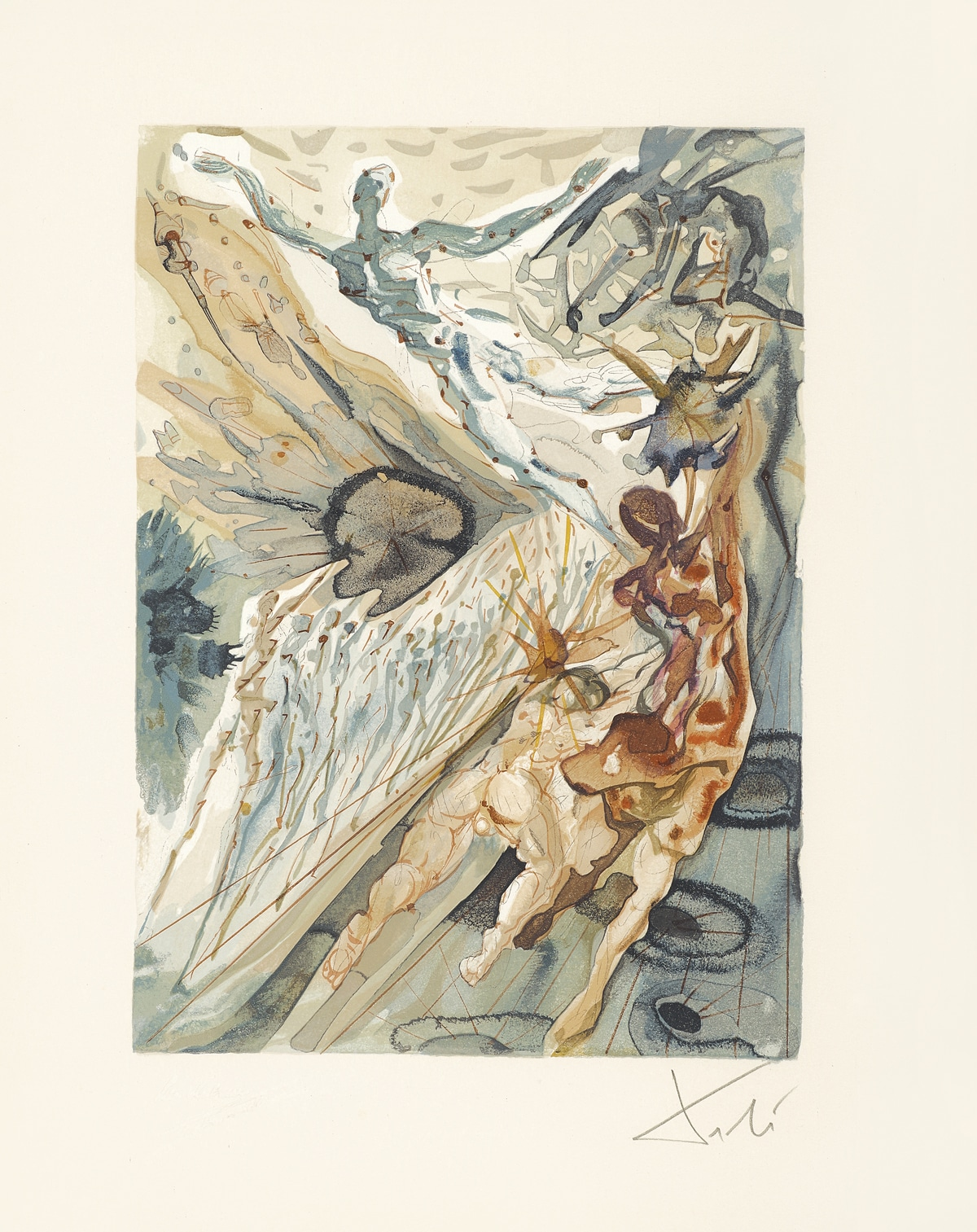 """""""Meeting of the Two Groups of Lechers (Recontre de deux troupes de luxurieux)."""" From """"Divine Comedy - Purgatory 26"""" by Salvador Dalí"""