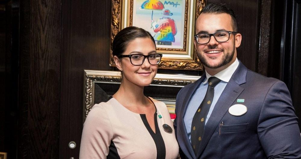 Auctioneers Katherine Moreno and Chris Vounnou