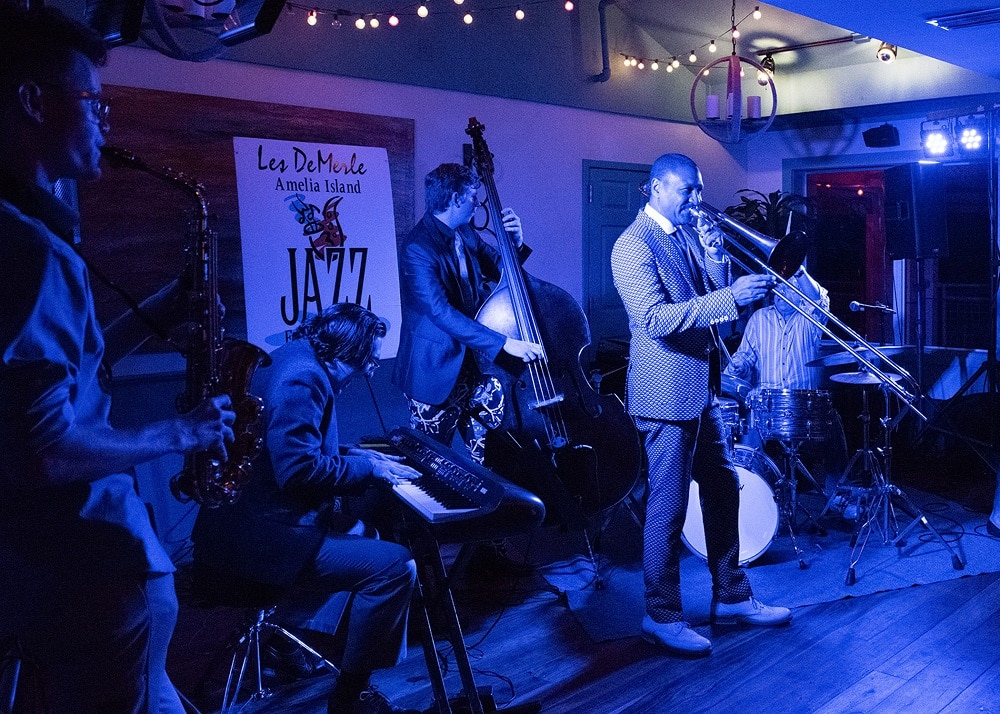"""Delfeayo Marsalis at the Late Nite Jam at """"Dizzy's Den."""" Also featured are John Brown on sax, Daniel Tenbusch on piano, Sam Lobey on bass, and Les DeMerle on drums."""