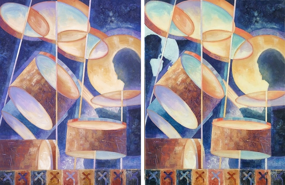"""The """"before"""" and """"after"""" of Peter Nixon's official artwork """"Elliptical Rhythms."""""""