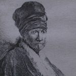 """Detail from Rembrandt's 1630 etching """"Bust of a Man Wearing a High Cap; Three-Quarters"""""""