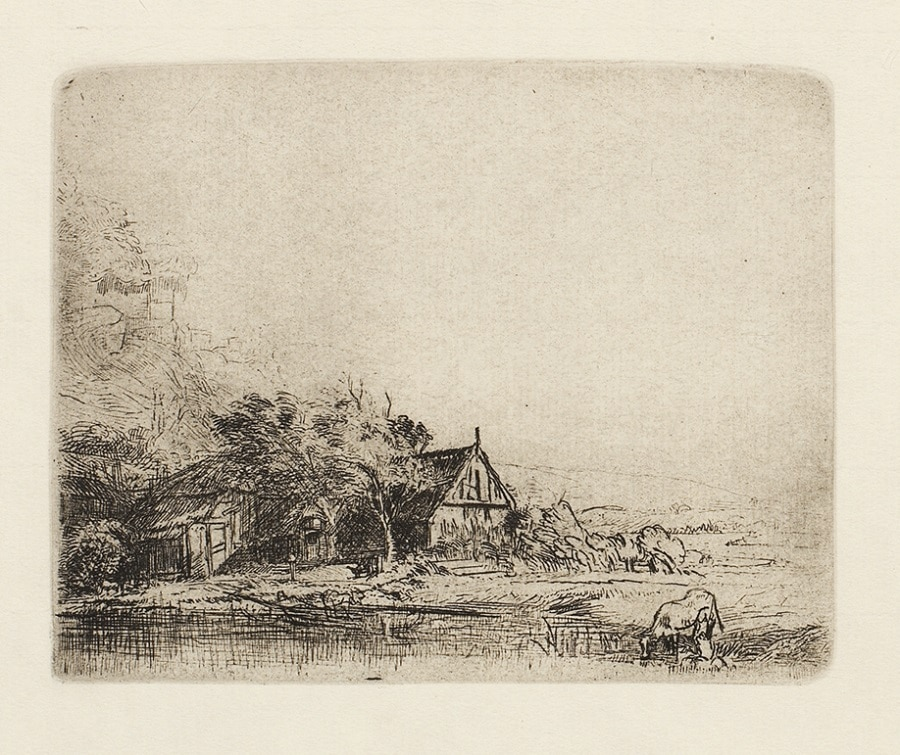 """""""Landscape with a Cow Drinking"""" (ca. 1650), Rembrandt"""